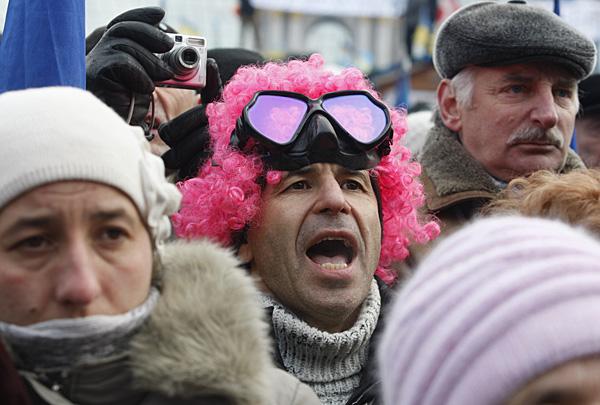 Участник народного вече в Киеве, 19 января 2014 года. Фото: Максим Никитин / ИТАР-ТАСС