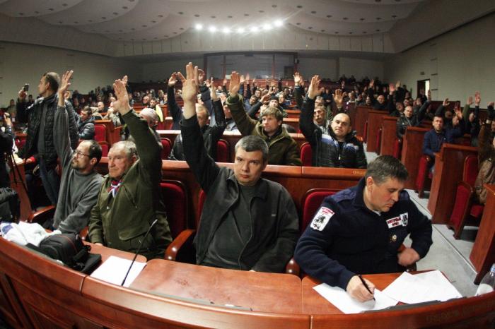 Провозглашение Донецкой народной республики, Донецк, 7 апреля 2014.  Фото: AFP