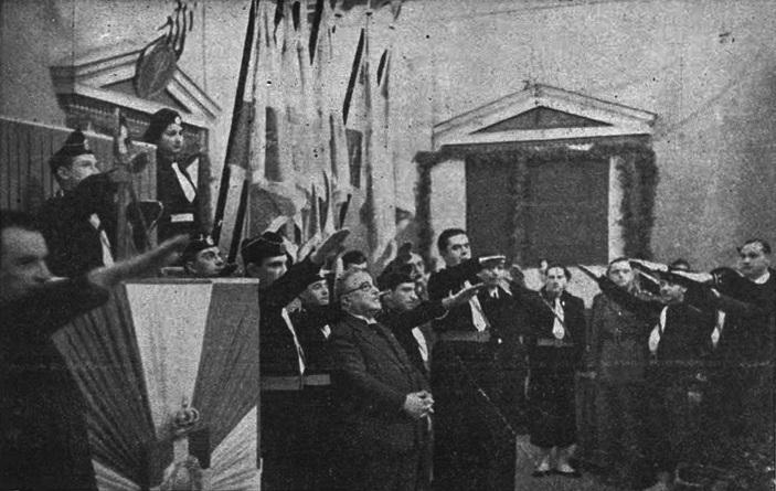 Молодые греческие фашисты приветствуют диктатора Иоанниса Метаксаса, Афины, 1938 г.