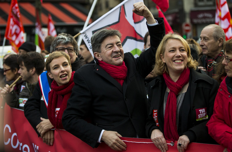 epa03972792 Leader of the French far-left political party Front de Gauche, Jean-Luc Melenchon (C), attends a demonstration for a 'fiscal revolution' in Paris, France, 01 December 2013. Thousands of left-wing sympathizers and trade unions marched to protest against a raise in French VAT announced for January 2014. EPA/IAN LANGSDON